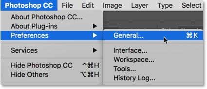 Открытие общих настроек Photoshop.