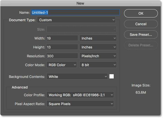 Устаревшее диалоговое окно «Новый документ» в Photoshop CC 2017.