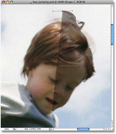 Непрозрачность слоя Shape теперь понижена.  Image © 2008 Photoshop Essentials.com.