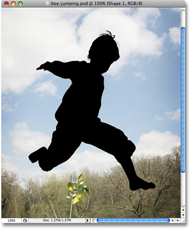 Силуэт мальчика в фотошопе.  Image © 2008 Photoshop Essentials.com.