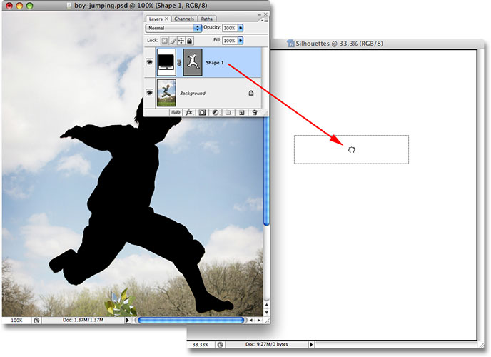 Перетаскивание слоя формы из исходного изображения в новый документ.  Image © 2008 Photoshop Essentials.com.