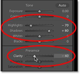 Ползунки «Подсветка», «Тени» и «Четкость» на панели «Основные» в Lightroom