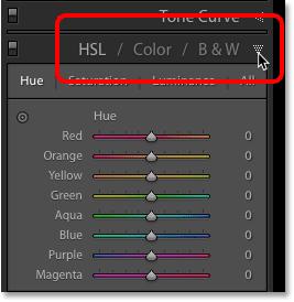 Открытие панели HSL / Color / B & W в Adobe Lightroom