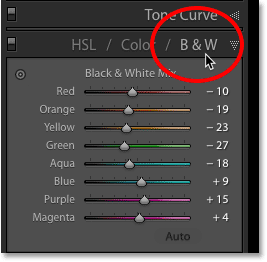 Открытие параметров преобразования черно-белых изображений в Adobe Lightroom
