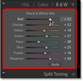 Цветные ползунки Black and White Mix в Lightroom