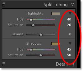 Панель Split Toning в Lightroom